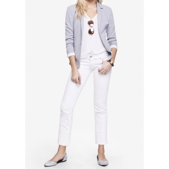 Express Stella Cropped Skinny Regular Fit Low Rise White Jeans